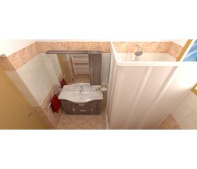 Bagno moderno con piastrelle cm 20x20 rosa box doccia a soffietto radiatore termoarredo mobile bagno a terra